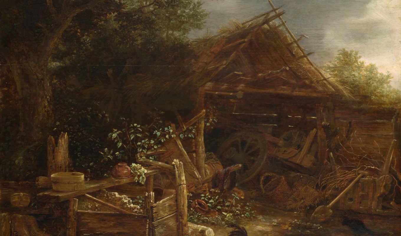 ван, farmyard, ostade, айзек, peasants,