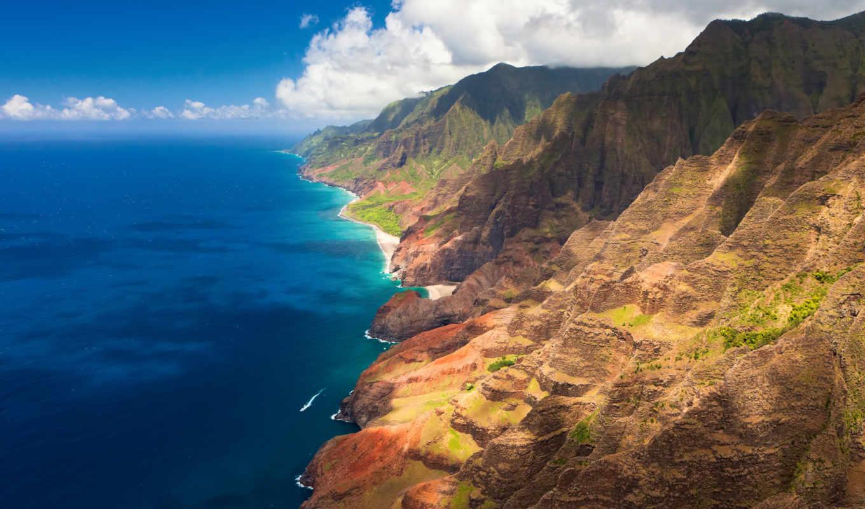 ocean, hawaii, oblaka, горы, побережье, природа,