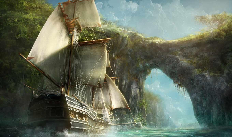 корабль, art, корабли, sailboat, море, река,