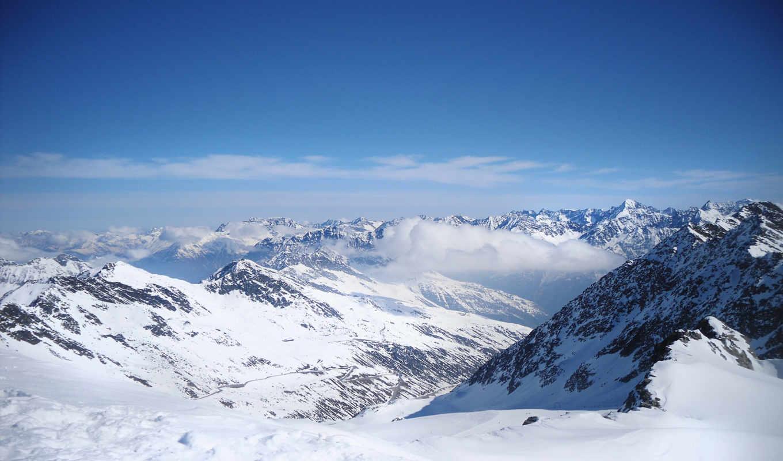 горы, снег, тучи, горах, гор, картинка, sevian, тян, hunting,