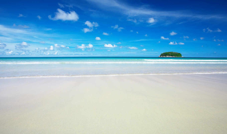 небо, голубое, beach, пляж, остров, clouds, wallpapers, кнопкой, desktop, же, wallpaper, левой,