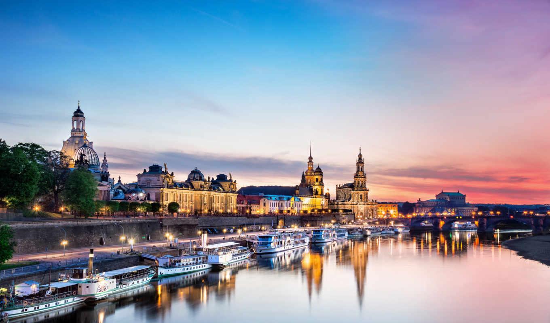 dresden, пейзаж, пристань, вода, лодки, здания, germany, картинку, картинка, правой, кнопкой, мыши, travel, выберите,