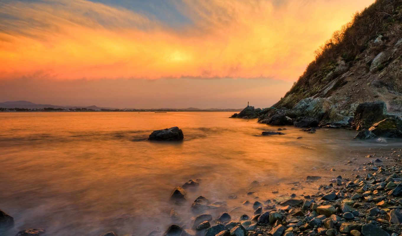 ocean, берег, небо, скалы, закат, облака, волны,