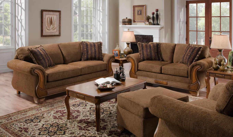 muebles, sala, para, con, fotos,