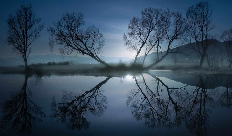 природа, landscape, natural, отражение, свет, ночь, дерево, water, коллекция