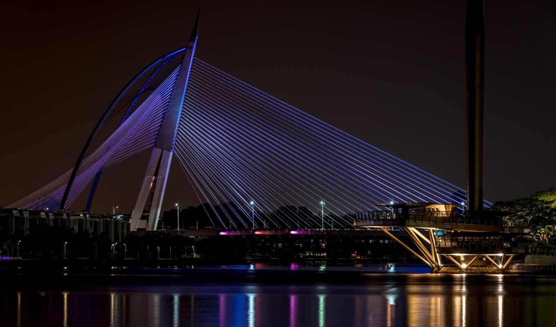 мост, город, кабель, stay