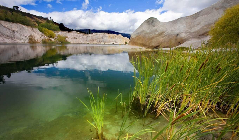 озеро, тихое, зелень, вода, небо,