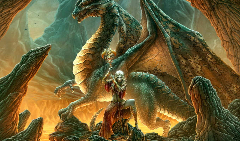 fantasy, dragon, эльфийка, girl, повелительница, фентези, жезл, abstract, desktop, fondos,