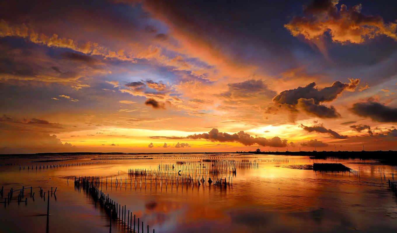 закат, море,