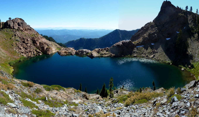 природа, lake, anna, горы, lakes, quarter, дек, красивая, лес, небо,
