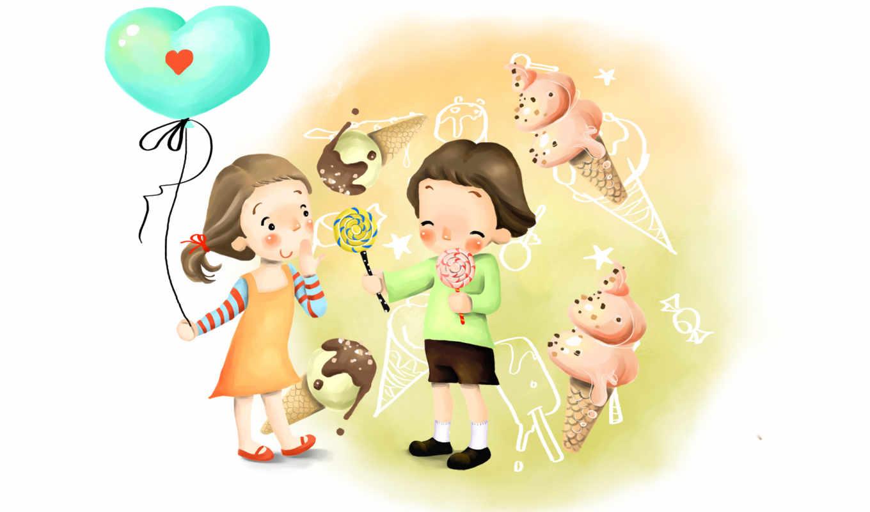 нарисованные, дети, девочка, мальчик, шарик, леденец, мороженое, мечты, шоколад