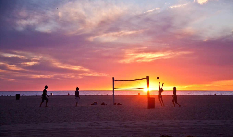 пляж, los, california, angeles, venice, summer,