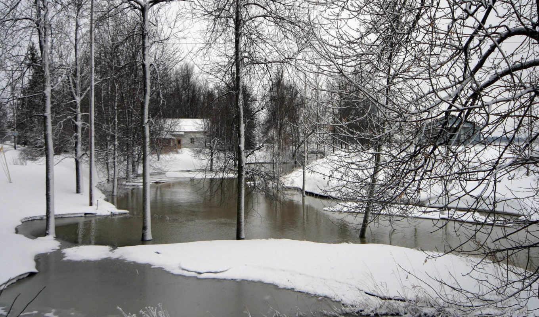 банка, бесплатные, reka, zima, priroda,
