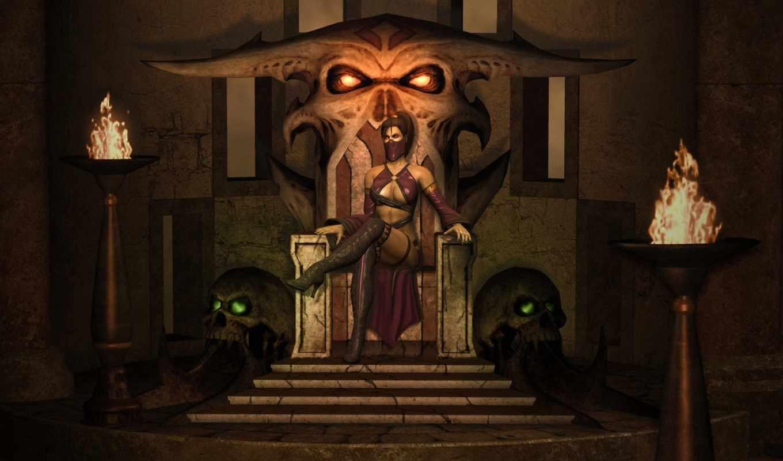 mortal, kombat, mileena, трон, милина, wallpaper,