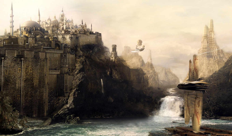 fantasy, castle, река, scene, digital, quality, high, замок, this, art, desktop, free, enlarge, fantastic, design, водопад,