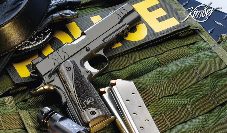 police, оружие, пистолет, фонарик, kimber, магазины, weapons, картинка,