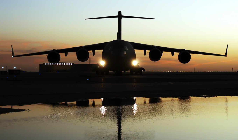 globemaster, aircraft, iii, desktop, огни, полоса, взлетная, airplane, тень, вечер,
