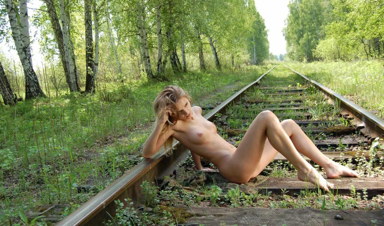 devushki, голые, красотки, эротический, часть, рельсы, голая,