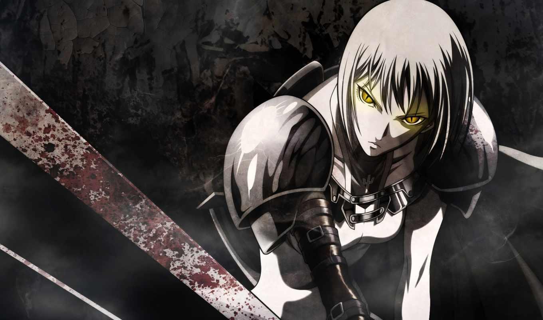 anime, воин, меч, девушка,