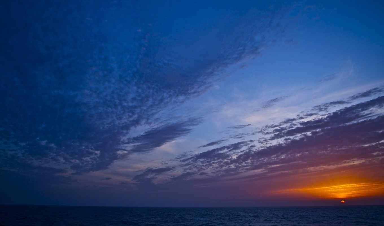 небо, sun, море, закат, горизонт,