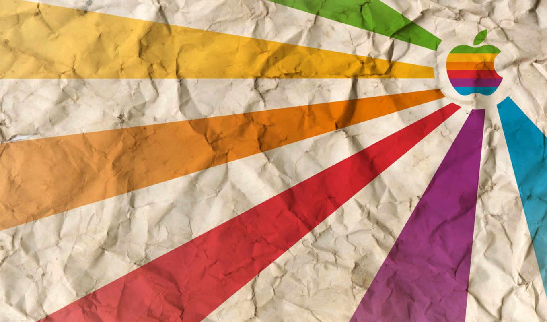 apple, логотип, мятой, радуга, бумаге,