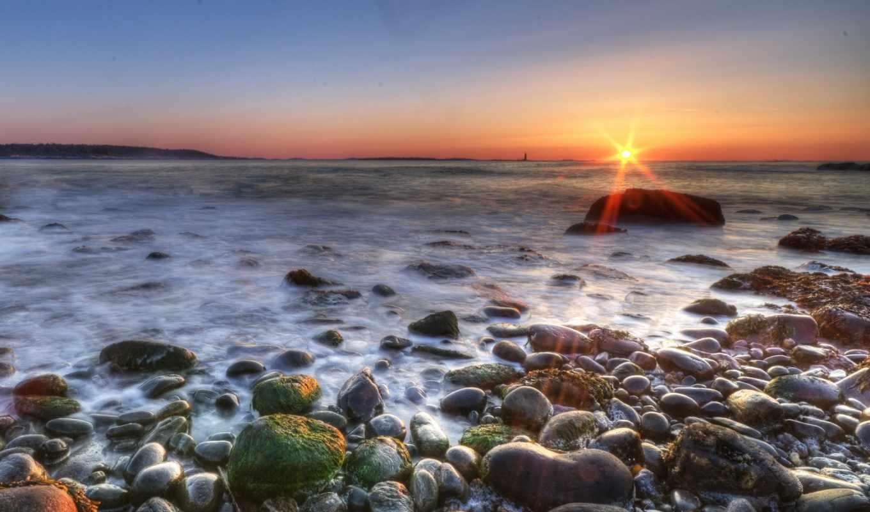море, берег, утра, sun, широкоформатные,