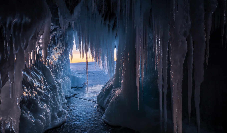 пещера, россия, лед, icicle, байкал, холод, природа, озеро,