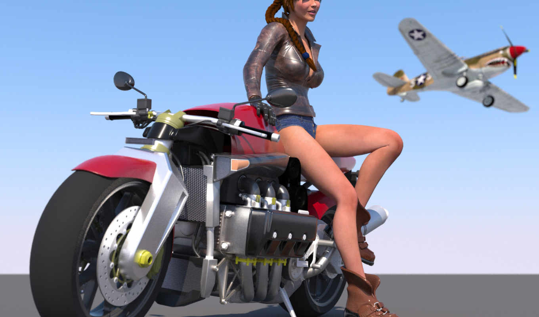 девушка, мотоцикл, самолёт, арт, небе, рендеринг, широкоформатные,