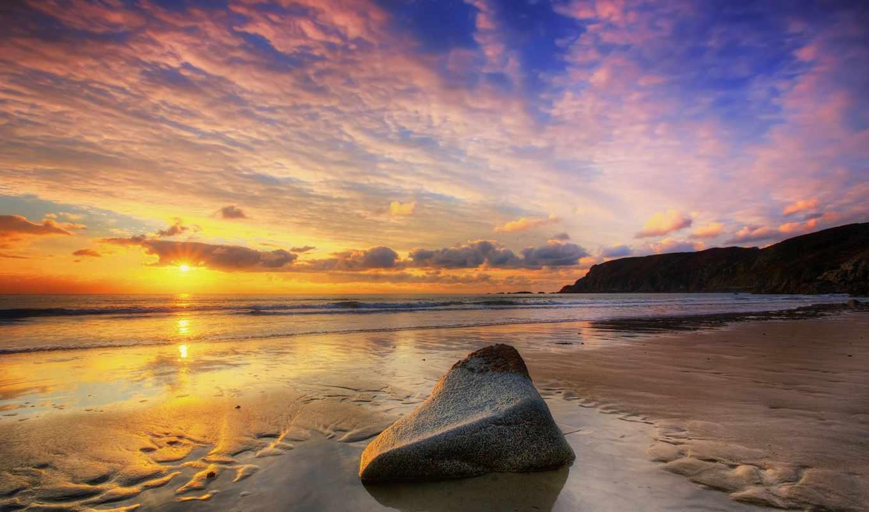 камень, море, пляж, небо, закат, берег,