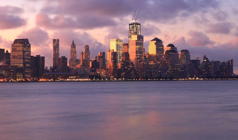 облака, вечер, нью, небо, река, york, мегаполис, сша, небоскребы, закат, подсветка, огни, тучи,