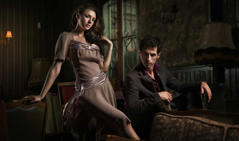 взгляд, девушка, шатенка, мужчина, окно, кофта, платье,