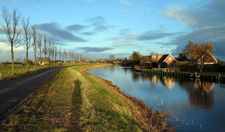 holanda, города, paisagens, каржас, нидерланды, canal, oudendijk, you, об, double,