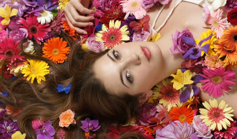 los, girl, más, brunette, flowers, девушки,