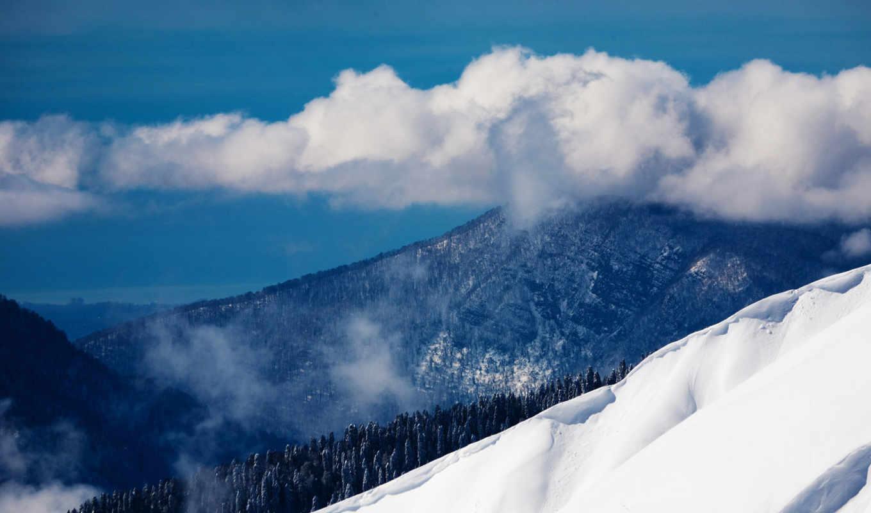 сочи, поляна, красная, landscape, россия, природа, облака, winter, краснодарский, edge, снег,