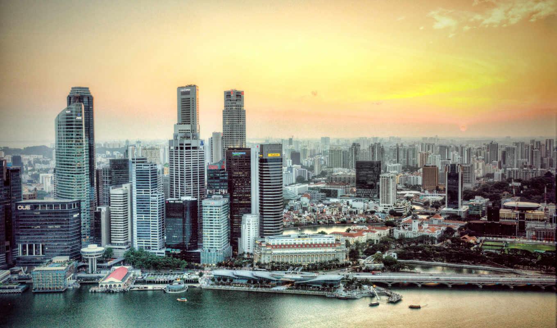 singapore, город, река,