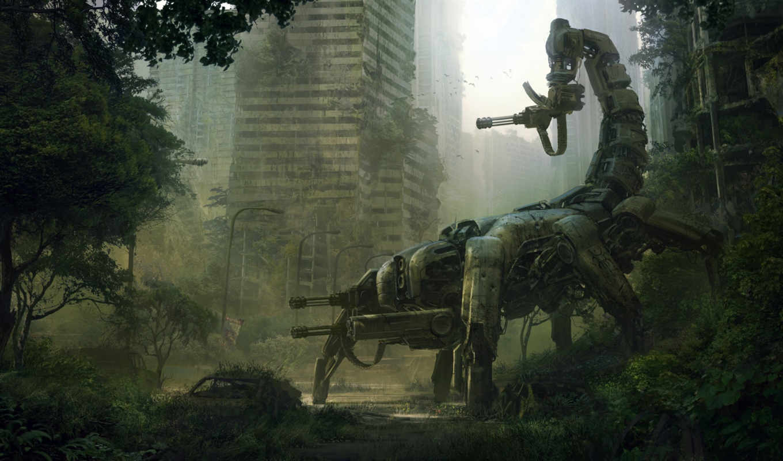 scorpion, robot, город, fantasy, art, разруха,