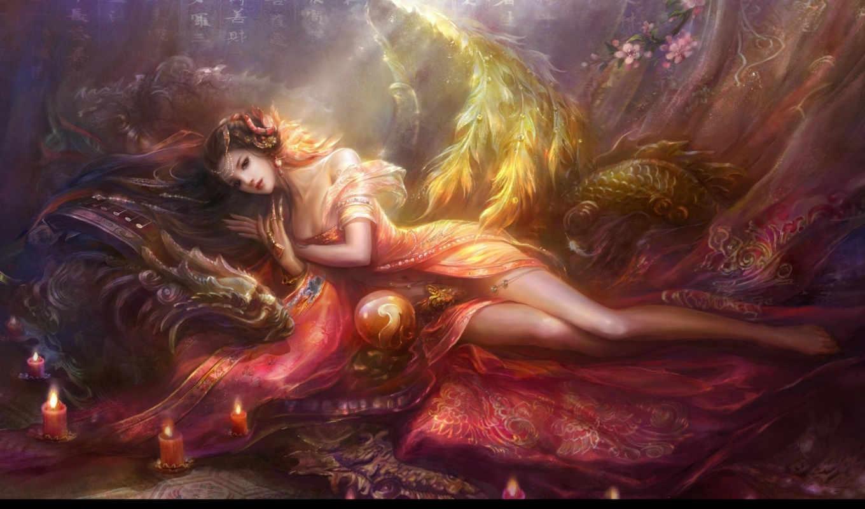 девушка, wang, дракон, rongrong, лежит, комнате, разных, разрешениях, картинка, близко, драконом,