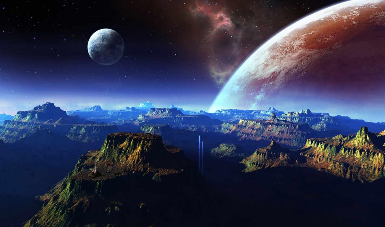 cosmos, горы, планеты, full,