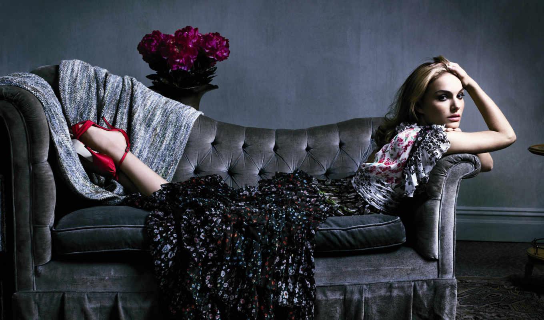 платье, диван, натали, девушка, портман, букет, цветов, devushki, актриса,