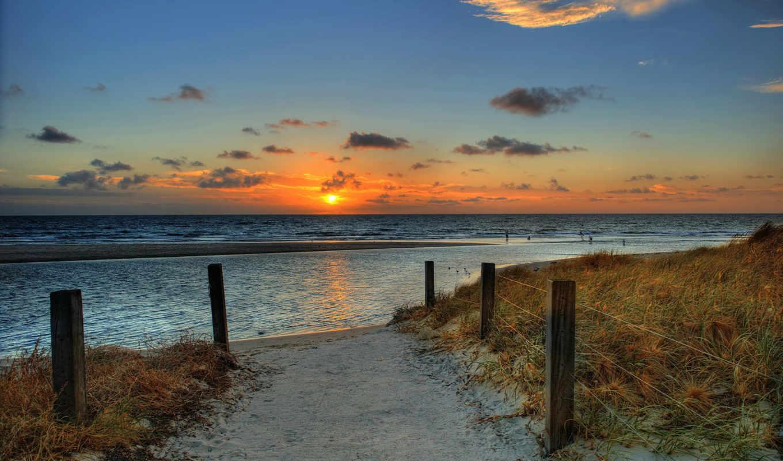 пляж, море, небо, ocean, landscape, рассвет, природа, закат,
