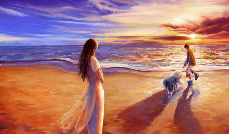 прогулка, романтика, закат, beach, картинка, картинку, смотрите, part, unsorted,