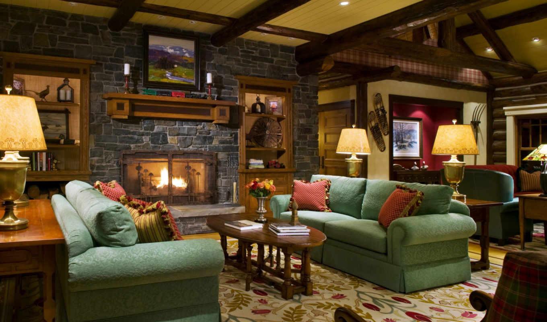 интерьер, камин, диван, лампа, дизайн, картинка, обоях, выпуск, картинку,
