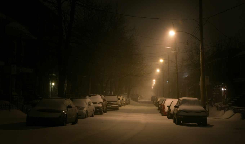 фонарь, улица, снег, зима, машины,