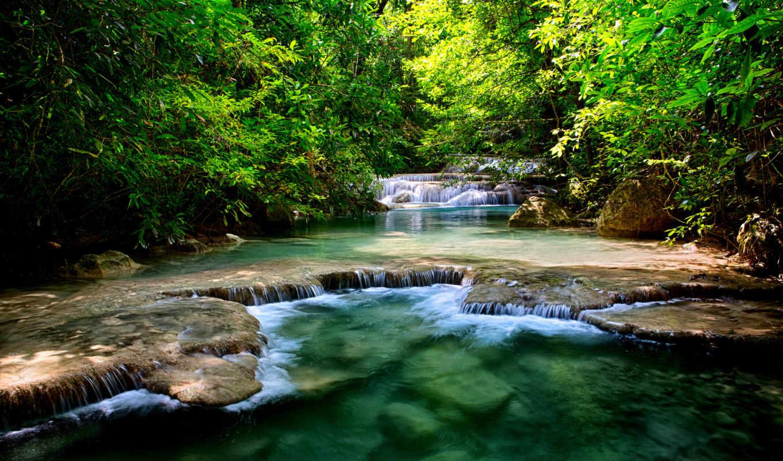 тайланд, графика, река, водопады,