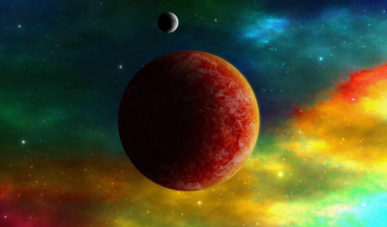 планеты, космос, туманность, звезды,