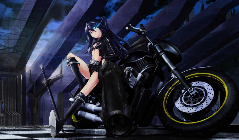 anime, black, rock, devushka, shooter, devushki, мато, oruzhie, категории, мотоцикл, kuroi,