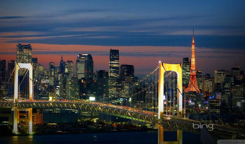 tokyo, мост, радуга, вечер, япония, you,