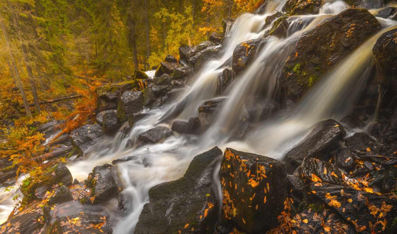 осень, northern, savonia, финляндия, водопад, природа, popularity, color