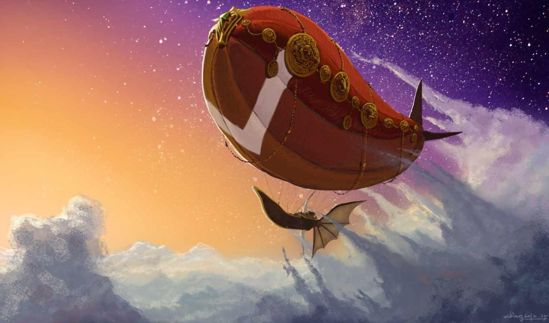 летучий, корабль, небе, art, полет, дирижабль, oblaka,