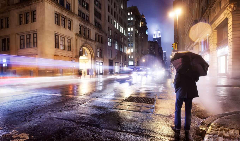 мужчина, зонтик, город, парень, улица, ночь, под, human, картинка, одинокий